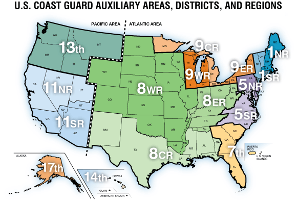 U.S. Coast Guard Auxiliary District Map